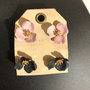 Anthropologie Painted Flower Stud Earrings, 2 Pair
